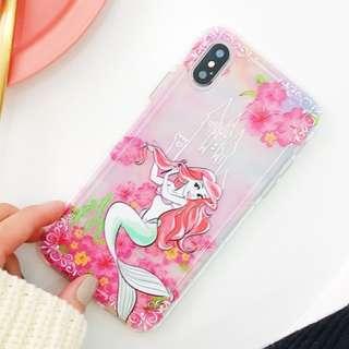 手機殼IPhone6/7/8/plus/X : 花花美人魚全包邊透明軟殼