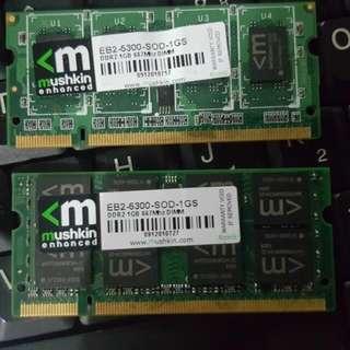 🚚 2pc-1GB Each DiMM RAM From T60 LENOVO LAPTOP