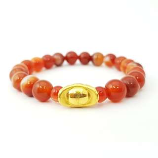 SALE! 999 Gold Nuggut With Red Marble Beads - M 8MM