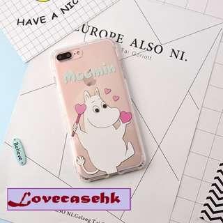 手機殼IPhone6/7/8/plus/X : 姆明Moomin全包邊透明軟殼