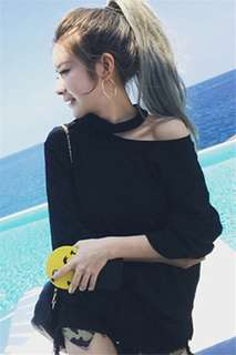[PO] hanging neck pure Color top