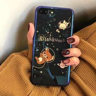 手機殼IPhone6/7/8/plus/X : 星空鬆弛熊藍光全包黑邊軟殼