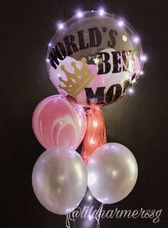 Customised Mother's Day bubble balloon bouquet