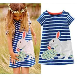 Cute baby kids shirt summer dress short sleeve rabbit Php:370