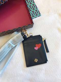 (RS) Tory Burch Love N peace lanyard card holder