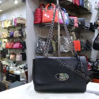 Mulberry Medium Lily Black Glossy Goat With Silver Nickel