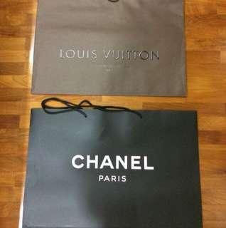 Authentic Super Big LV & CHANEL Paper Bag