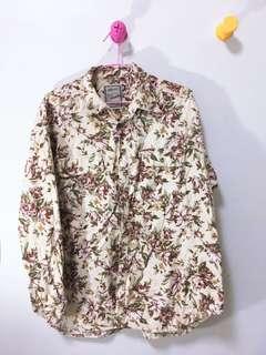 🚚 古著滿版玫瑰法蘭絨襯衫