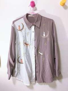 🚚 古著不對稱藕紫色貓咪襯衫