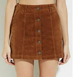 Forever21 Vintage Brown Button Down Skirt