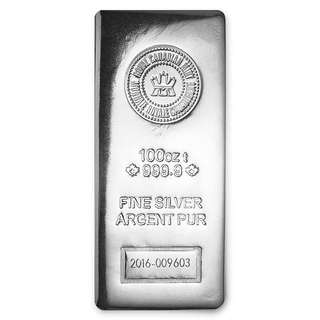 Royal Canadian Mint RCM 999.9 pure 100 Oz silver bar - 20 in stock
