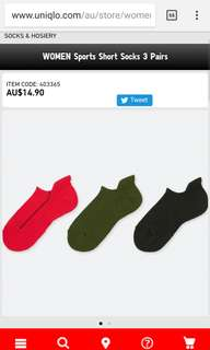 Uniqlo women's sports short socks