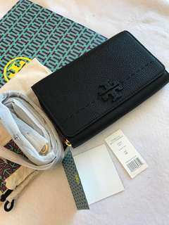(RS)Original Tory Burch McGraw Flat Leather Wallet Crossbody