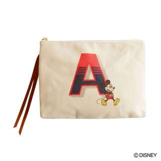 """Japan Disney Accommode Mickey Mouse Initial """"A"""" Pouch"""
