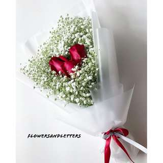 Rose Bouquet three stalks I love you fresh flowers roses and white baby's breath hand bouquet