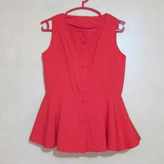 Red Peplum Blouse