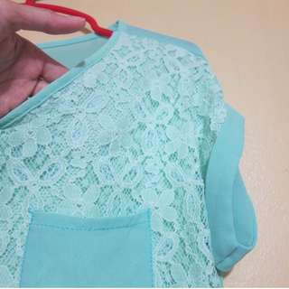 Mint Green Lace Sheer Blouse
