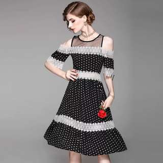 Black off shoulder polka dot dress