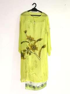 Baju Kurung Hijau terang #rayaletgo