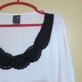 LALU White Loose with Beaded CoBlouse