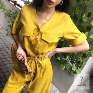 Korea 🇰🇷V領棉麻綁腰帶寬褲套裝
