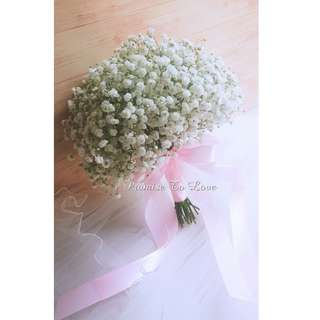 Fresh Baby's breath bridal bouquet (Wedding / ROM/ /Engagement Bridesmaid / Proposal/ Anniversary)
