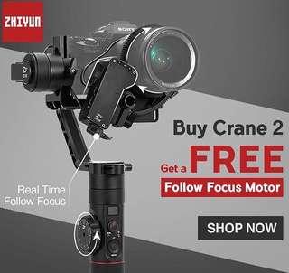 Zhiyun crane 2 gimbal With Follow Focus Motor(We Are Distributor and service centre)