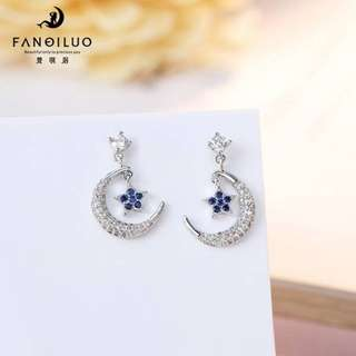 S925 Celebrity Star Moon Earrings