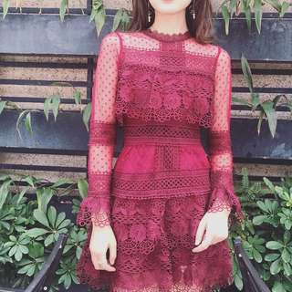 Brand NEW Maroon Lace Dress