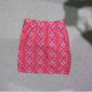 rok square pattern skirt