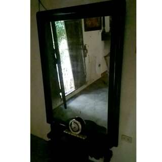 Big Antique Rose Wood Mirror