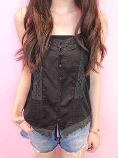 日本黑色Lace吊帶Top (J88)