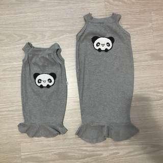 Grey furry panda bodycon dress sisters twinning