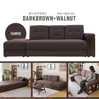Massimo Multifunction Sofa with Storage (Brown Fabric)