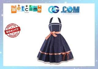 【Pre-Order】Plus Size Dinner Dresses Polka Dots Swing Sleeveless Backless wedding Dress