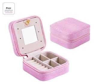 Pink croc travel mini Jewellery Box