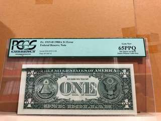 US $1 1915 Error Ink Smear PCGS 65 PPQ