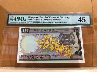 Singapore 4 25 Dollars Orchid PMG 45