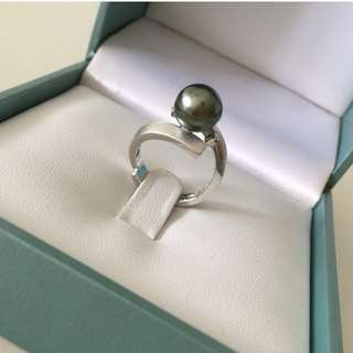 ✨New 18K Tahitian pearl diamond ring 大溪地黑珍珠鑽石戒指✨