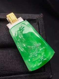 GZ-07冰陽綠山水牌 裸石35-22鑲嵌44-22-6特價:¥39860🉐️