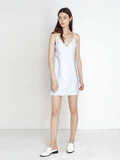 The Willow Label Bianca Wrap Dress Light Blue Stripes in Size L