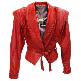 Crimson Red Leather Jacket with Polka-Dot Irisdescent Lining