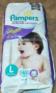 Pampers premium care tape diapers 40pcs / made in Japan / size L / 9kg - 14kg