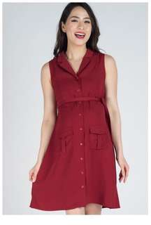 JumpEatCry Dark Red Sleeveless Button Down Nursing Dress