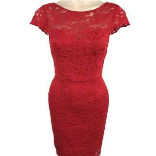 Review Womens Red Lace Pencil Party Evening Dress Size 6