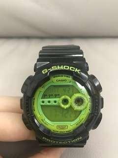 G-shock手錶 Casio 黑搭綠有型