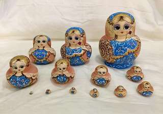 13 pcs in a set of Russian hand painted wooden matryoshka dolls