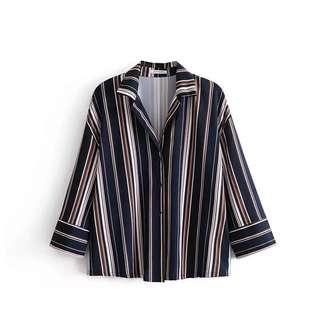 Summer new loose fashion lapel stripes hit color chiffon shirt