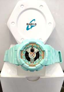 * FREE DELIVERY * Brand New 100% Authentic Casio BabyG Turquoise Case & Rose Gold Index Baby G Casual Watch Baby-G BA110CH 3 BA110CH-3ADR