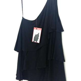Black One Shoulder Frill Tiered Tank Top